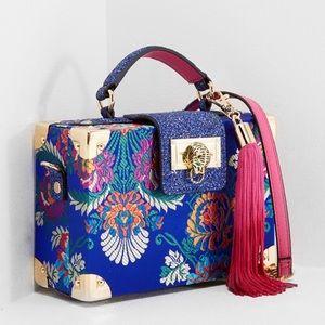 ALDO   Vetto Blue Floral Satchel Box Bag Tassell